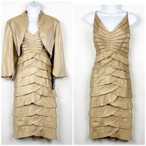 Adrianna Papell Gold Tiered Ruffle Dress Set NEW